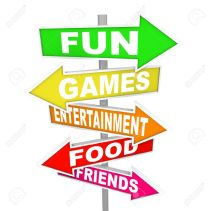 13946537-The-words-Fun-Games-Entertainment-Food-and-Friends-on-several-colorful-directional-arrow-signs-point-Stock-Photo